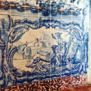 The hunting scene of 18th century tile panel